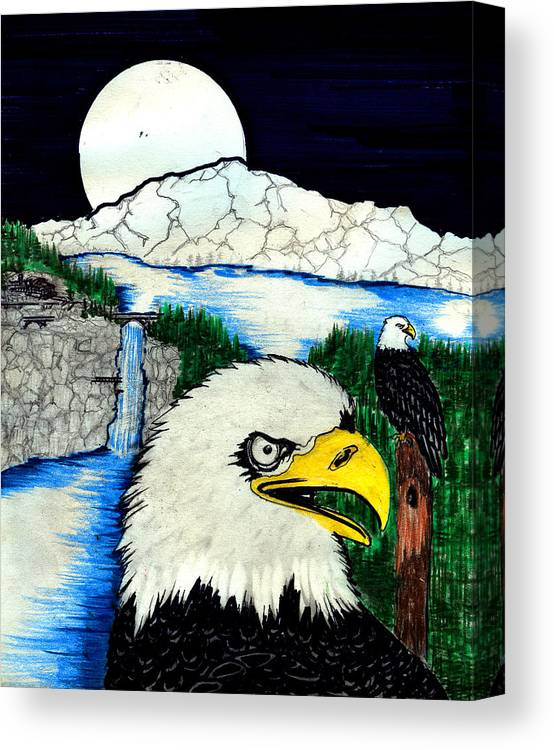 Canvas Print featuring the painting Eagle's Lair by Harry Richards