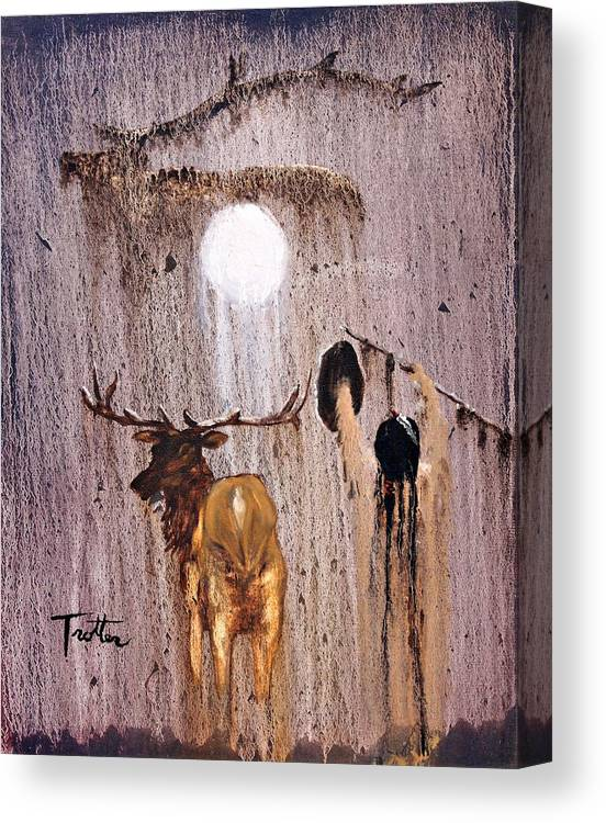 Native Art Canvas Print featuring the painting Elk Spirit by Patrick Trotter
