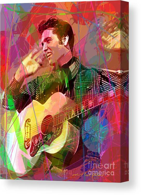 Elvis Canvas Print featuring the painting Elvis Rockabilly by David Lloyd Glover