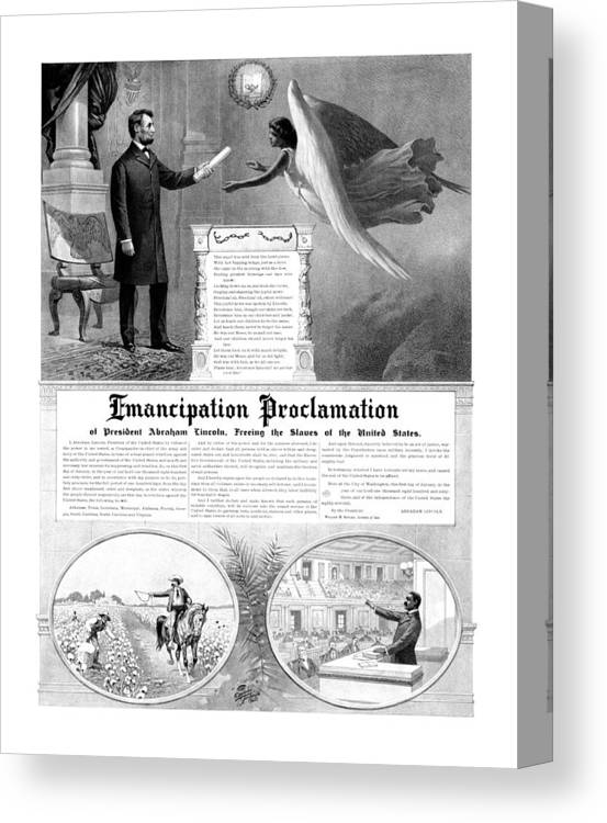 Emancipation Proclamation Canvas Print featuring the mixed media Emancipation Proclamation by War Is Hell Store