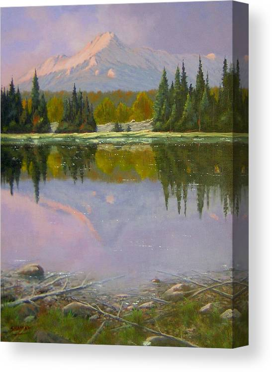 Landscape Canvas Print featuring the painting Fading Light - Peaceful Moment by Kenneth Shanika