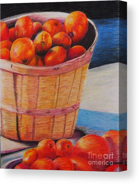 Produce In A Basket Canvas Print featuring the drawing Farmers Market Produce by Nadine Rippelmeyer