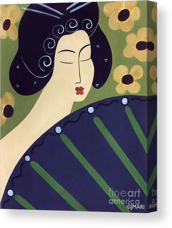 #japanese Canvas Print featuring the painting Geisha Doll by Jacquelinemari