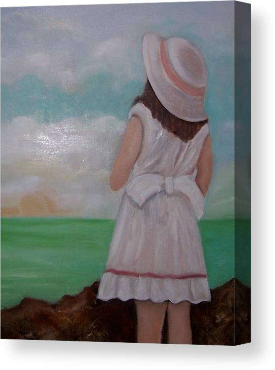 Children Canvas Print featuring the painting Girl On The Beach by Martha Mullins