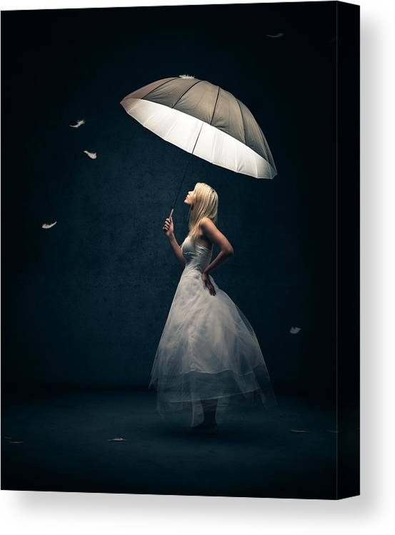 Girl Canvas Print featuring the photograph Girl with umbrella and falling feathers by Johan Swanepoel