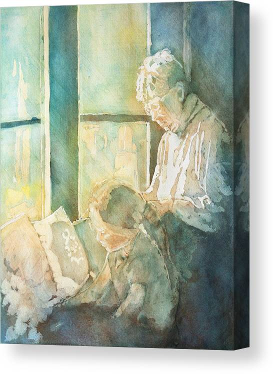 Family Canvas Print featuring the painting Gramdma Braids by Jenny Armitage