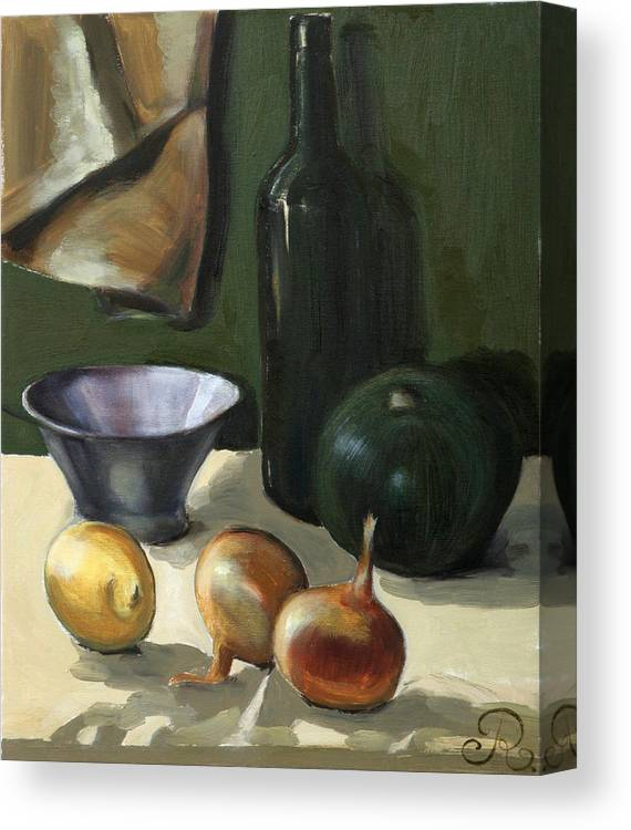 Still-life Green Yellow Cucurbit Lemon Onion Canvas Print featuring the painting Green still-life by Raimonda Jatkeviciute-Kasparaviciene