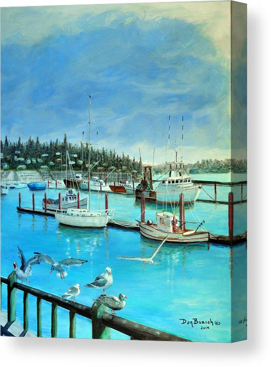 Seagulls Canvas Print featuring the painting Gulls at Newport Harbor by Dan Bozich