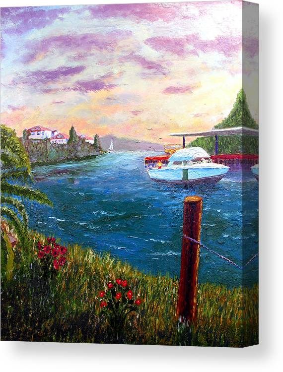 Original Oil On Wood Panel Canvas Print featuring the painting Harbor by Stan Hamilton