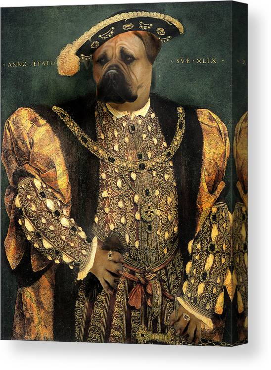 Mastiff Canvas Print featuring the digital art Henry VIII as a Mastiff by Galen Hazelhofer