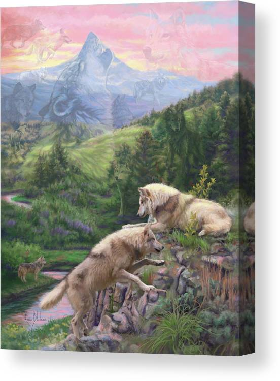 Wolf Canvas Print featuring the painting Hidden Wolves by Lucie Bilodeau
