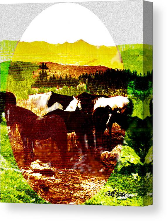 Mustangs Canvas Print featuring the digital art High Plains Horses by Seth Weaver