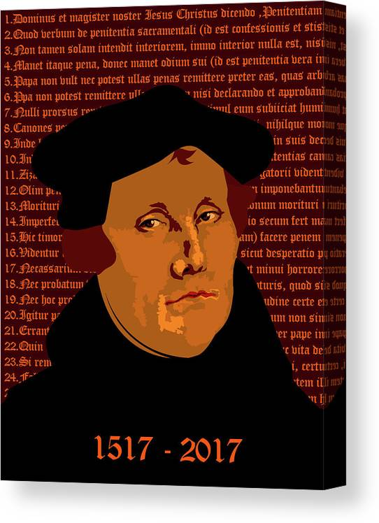 Luther Canvas Print featuring the mixed media Himself by Asbjorn Lonvig