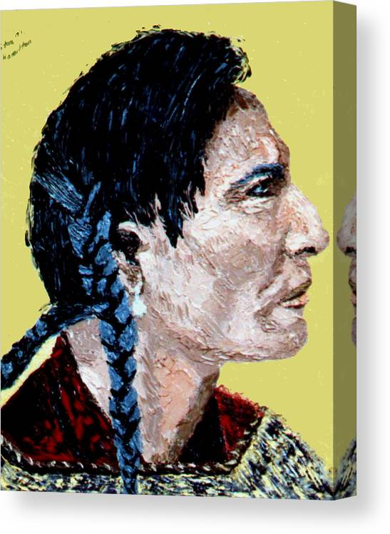 Indian Canvas Print featuring the painting Indian Brave II by Stan Hamilton