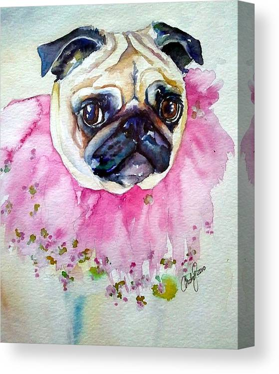 Pug Canvas Print featuring the painting Jester Pug by Christy Freeman Stark