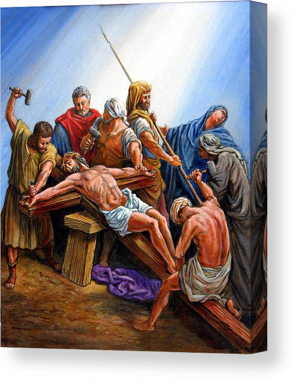 Jesus Canvas Print featuring the painting Jesus Nailed to the Cross by John Lautermilch