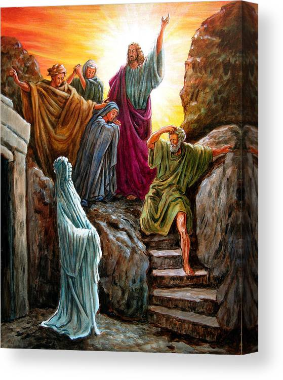 Bible Scene Canvas Print featuring the painting Jesus Raises Lazarus by John Lautermilch