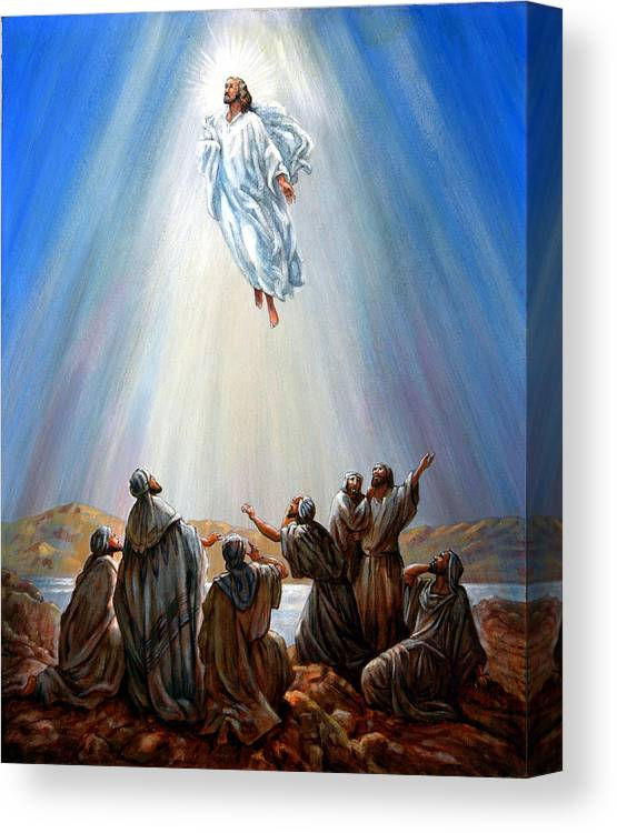 Risen Christ Canvas Print featuring the painting Jesus Taken up into Heaven by John Lautermilch