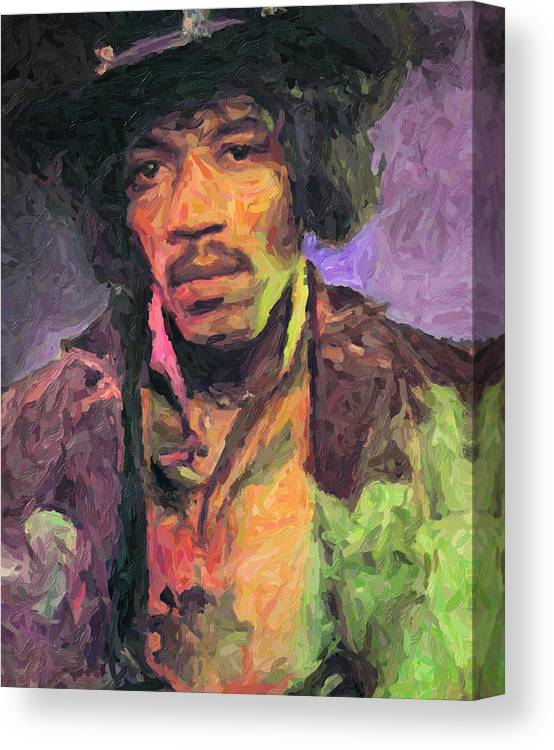 Jimi Hendrix Canvas Print featuring the painting Jimi Hendrix by Zapista OU