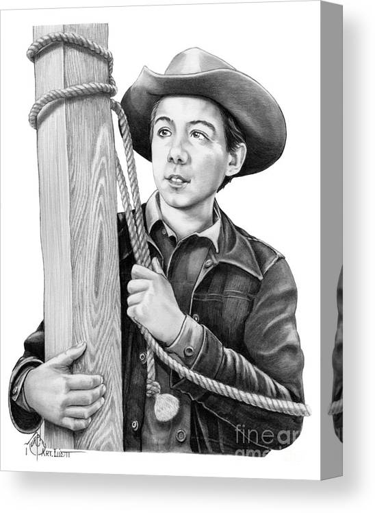 Pencil Canvas Print featuring the drawing Johnny Crawford-Mark McCain by Murphy Elliott