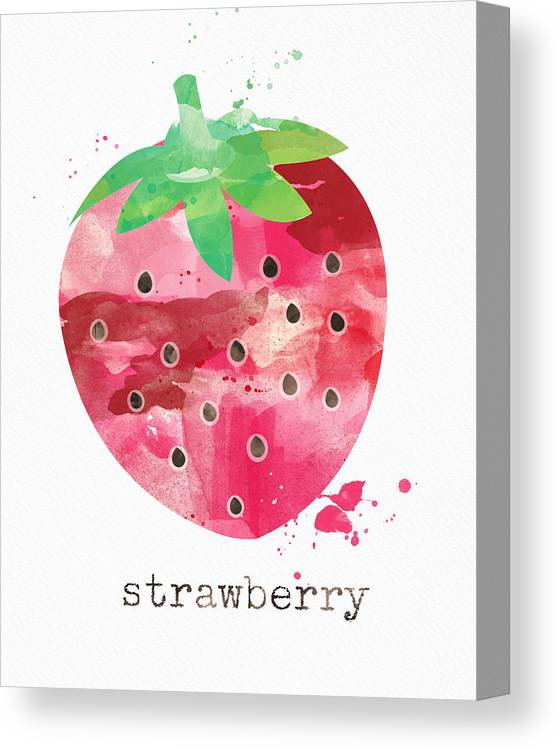 Strawberry Canvas Print featuring the painting Juicy Strawberry by Linda Woods