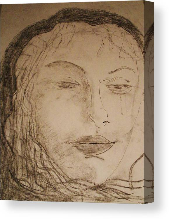 Romance Canvas Print featuring the drawing Julia Weeps by J Bauer
