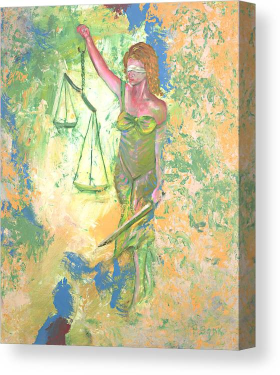 Ladyjustice Canvas Print featuring the painting Lady Justice And The Man by Peter Bonk