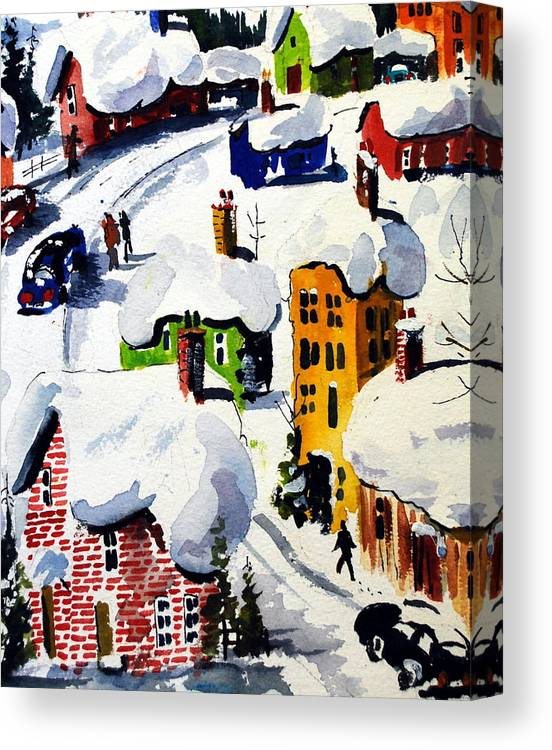 Snow Winter Small Tyowns Quebec Skiing Canvas Print featuring the painting Laurentian Snows by Wilfred McOstrich