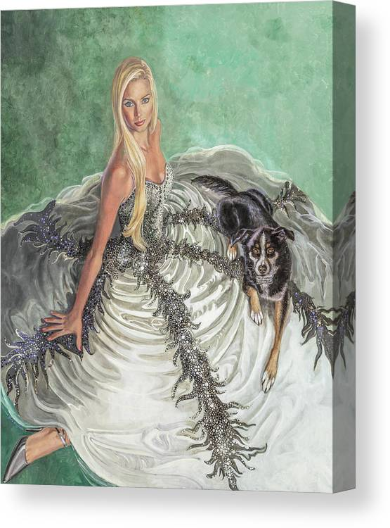 Fashion Illustration Canvas Print featuring the painting Lily Pad by Barbara Tyler Ahlfield