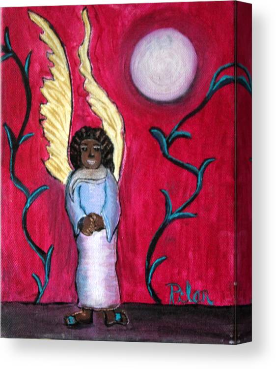Beautiful Black Angel With Long Gold Wings Canvas Print featuring the painting Little Angel by Pilar Martinez-Byrne