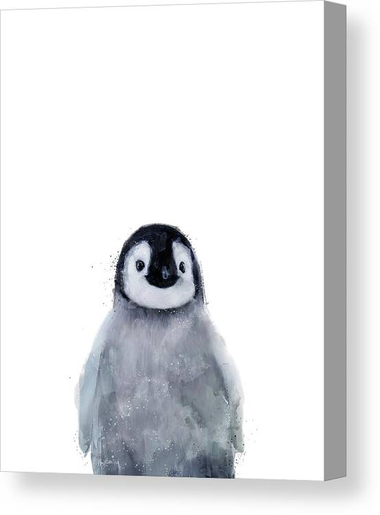 Penguin Canvas Print featuring the mixed media Little Penguin by Amy Hamilton
