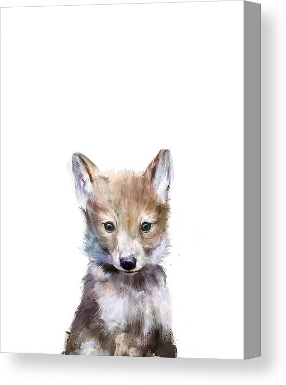 Wolf Canvas Print featuring the painting Little Wolf by Amy Hamilton