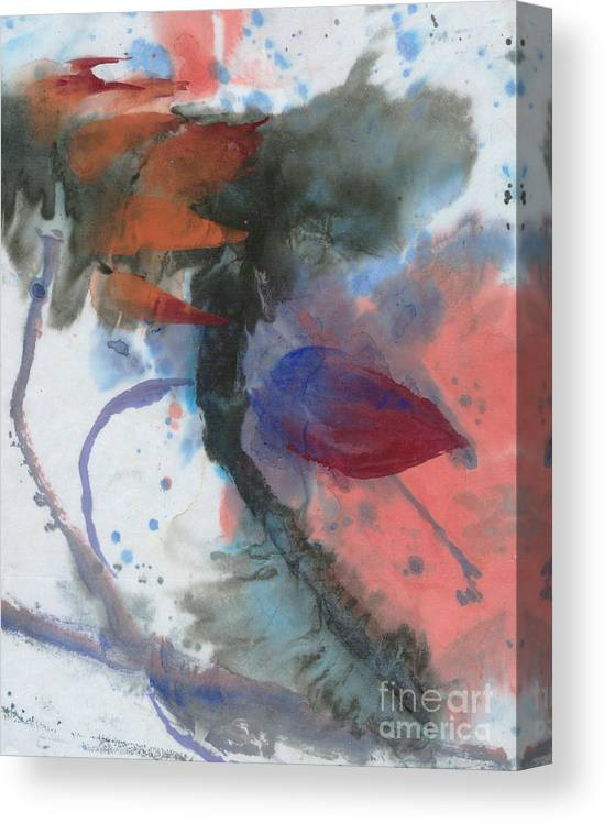 This Painting Of Lotus In Strong Wind Is Done With Quick Brush Strokes On Rice Paper Canvas Print featuring the painting Lotus in the wind by Mui-Joo Wee