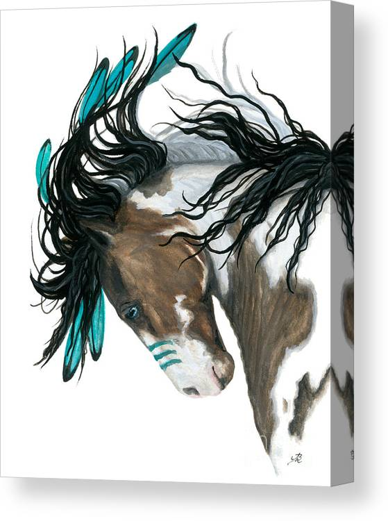 Turquoise Canvas Print featuring the painting Majestic Turquoise Horse by AmyLyn Bihrle