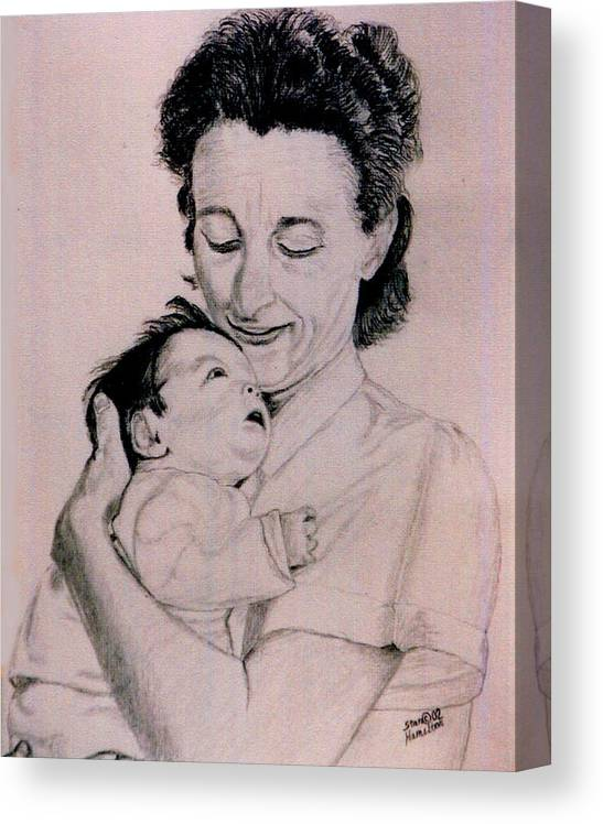 Modona Canvas Print featuring the drawing Modona and Baby by Stan Hamilton