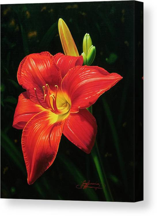 Lily Canvas Print featuring the painting Monikas Red Lily by Gary Hernandez