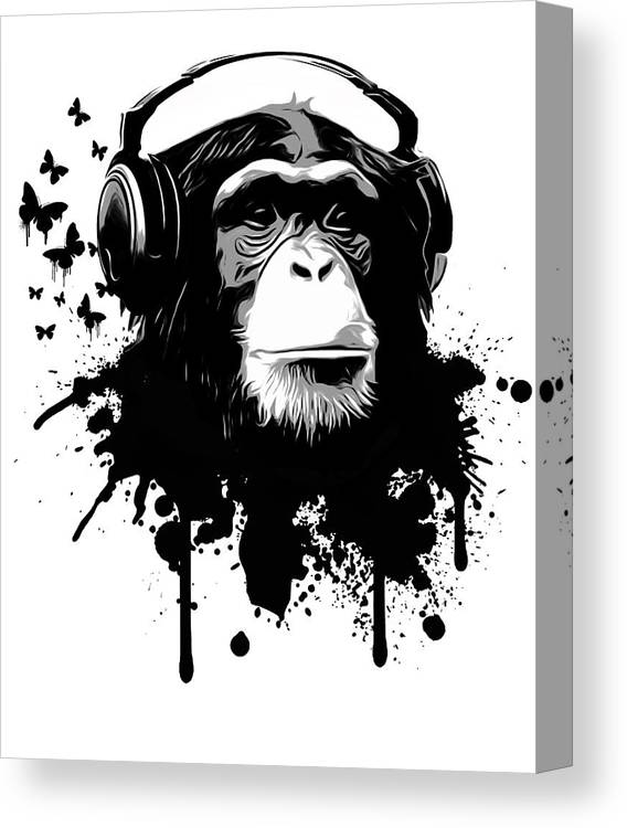 Ape Canvas Print featuring the digital art Monkey Business by Nicklas Gustafsson