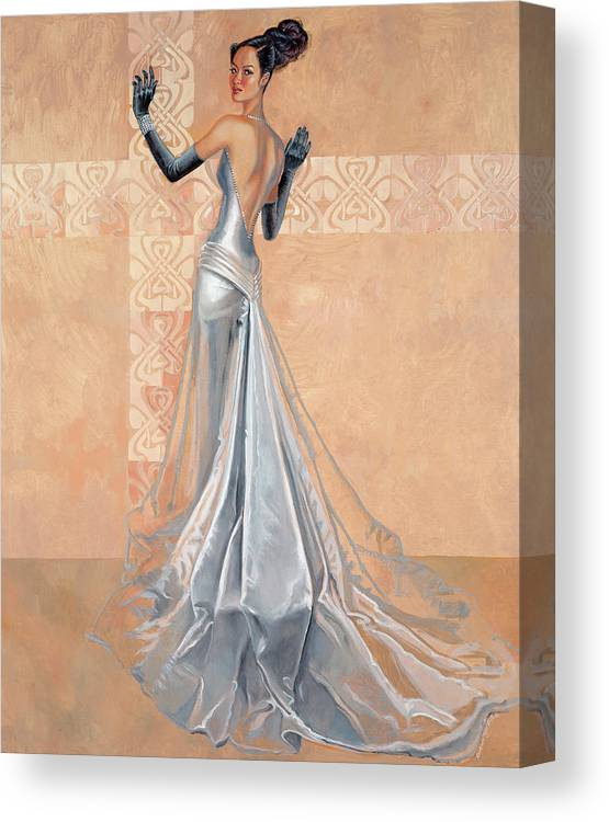 Fashion Illustration Canvas Print featuring the painting Moonlight Daiquiri by Barbara Tyler Ahlfield