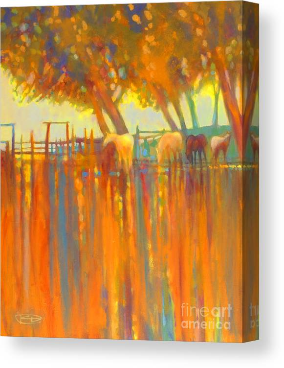Horse Painting Canvas Print featuring the painting Morning Shadows by Kip Decker
