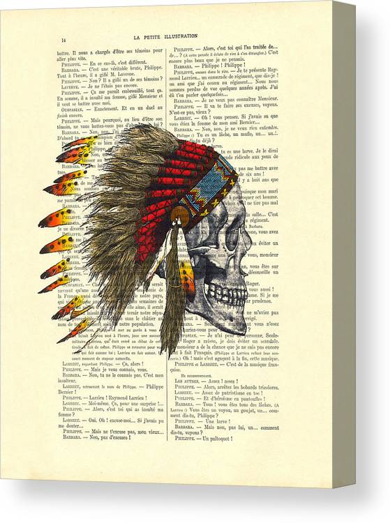 Native American Canvas Print featuring the digital art Native American Skull by Madame Memento