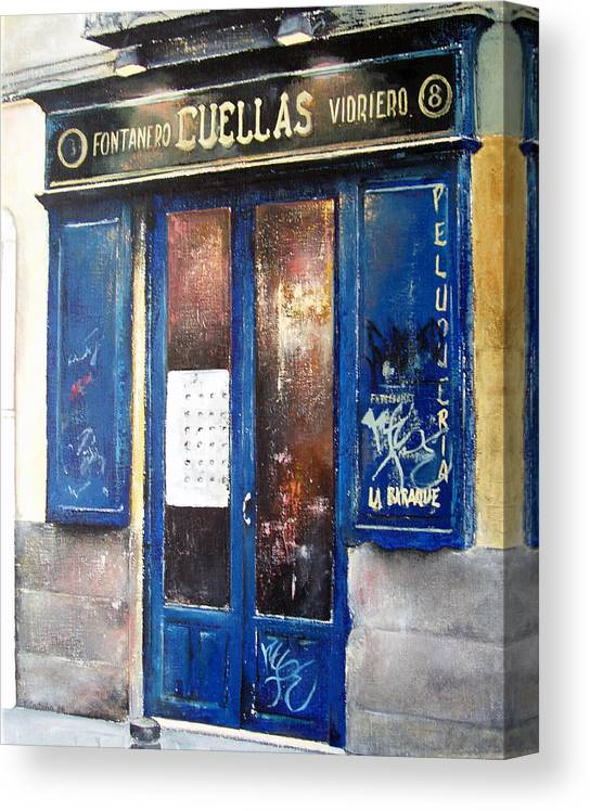 Old Canvas Print featuring the painting Old Plumbing-Madrid by Tomas Castano