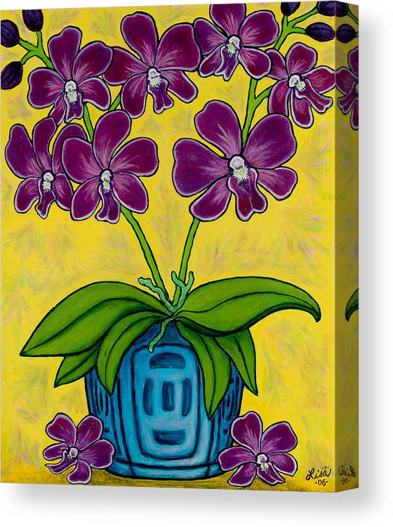 Orchids Canvas Print featuring the painting Orchid Delight by Lisa Lorenz