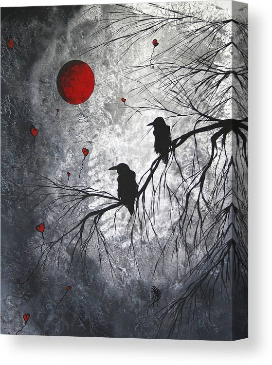 Birds Canvas Print featuring the painting Original Abstract Surreal Raven Red Blood Moon Painting The Overseers by MADART by Megan Duncanson