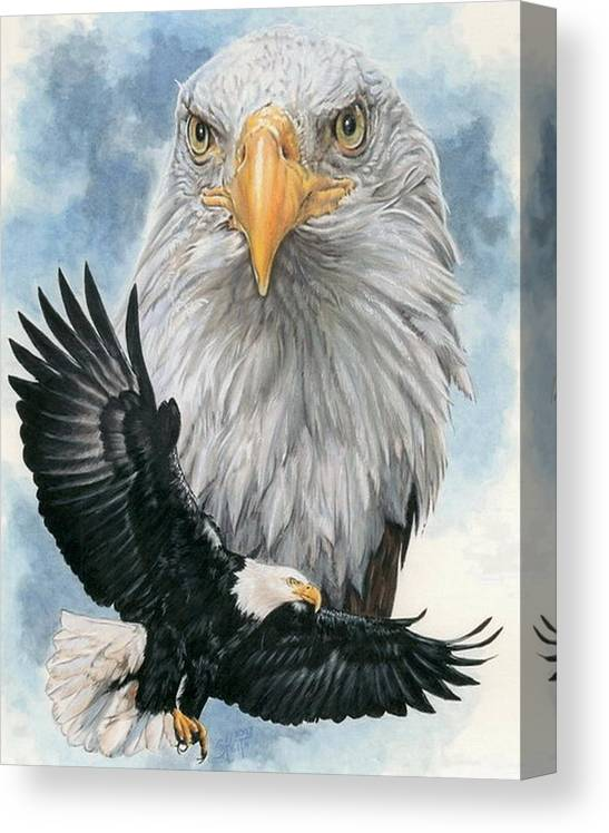 Bald Eagle Canvas Print featuring the mixed media Peerless by Barbara Keith