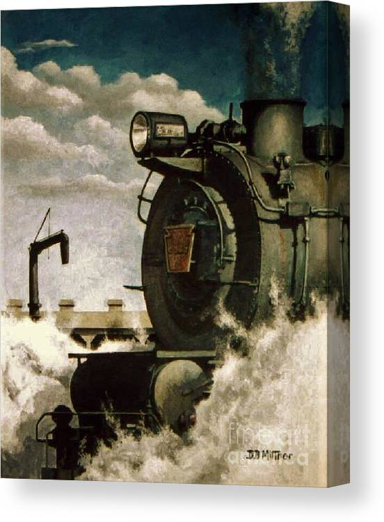 Pennsylvania Railroad Prr Train Painting Railroad Maryland And Pennsylvania Autumn Fall Colors Steam Engine Canvas Print featuring the painting Pennsy M1 by David Mittner