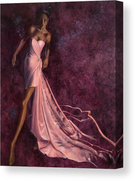 Fashion Illustration Canvas Print featuring the painting Pink Prowl by Barbara Tyler Ahlfield
