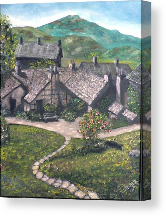 Pastoral Cottages Canvas Print featuring the painting Poet by Dan Bozich