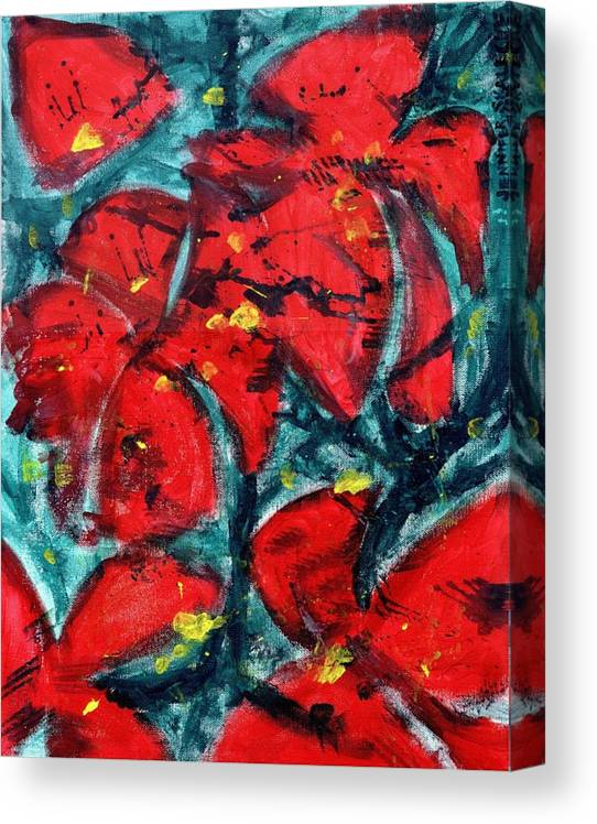 Flowers Canvas Print featuring the painting Poppies - www.jennifer-d-art.com by Jennifer Skalecke