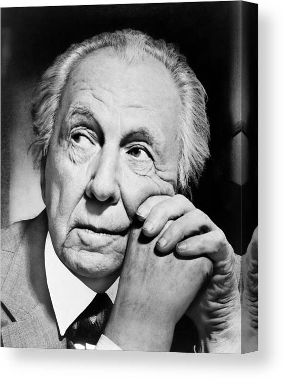 1 Person Canvas Print featuring the photograph Potrait Of Frank Lloyd Wright by Underwood Archives