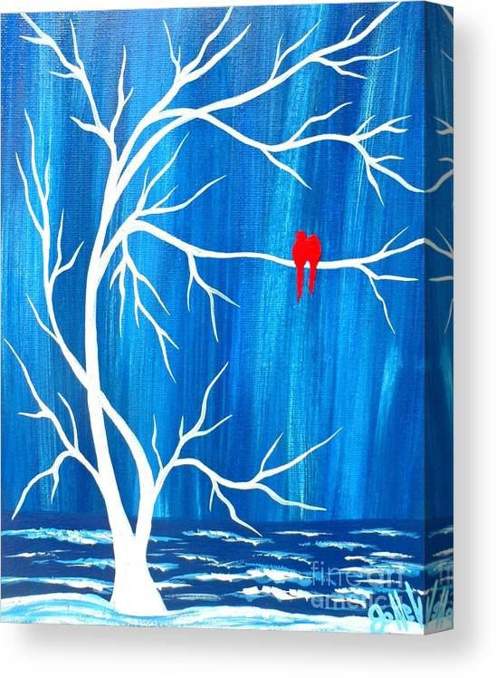 Blue Canvas Print featuring the painting Red Birds On Blue by JoNeL Art